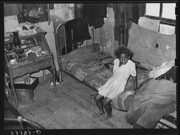 7. The interior of an agricultural day laborer's home in Muskogee County. These houses rented from $2-$5 dollars per month.