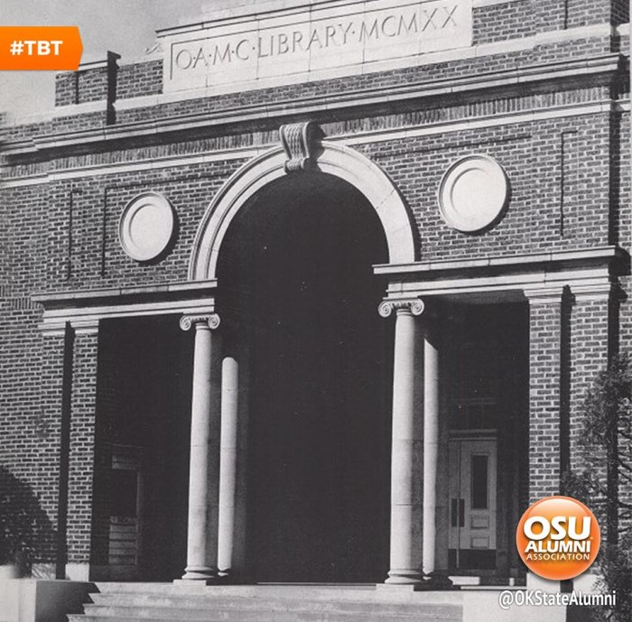 """4. This image from 1950, is the old """"OAMC Library."""" Completed in 1921, this was the first ever building that was solely devoted to the library. It was located less than 50 yards west from Old Central. It was succeeded in 1953, by the Edmon Low Library at OSU."""