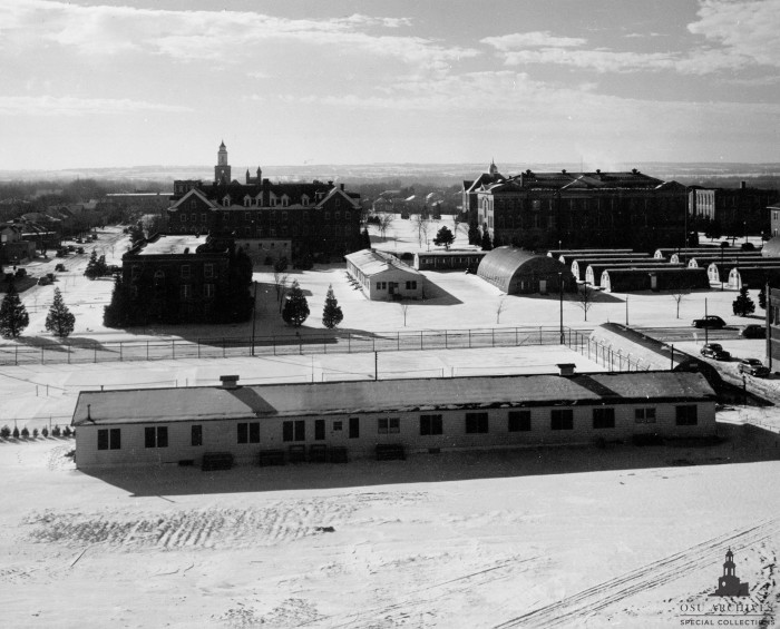 5. An aerial view of early Oklahoma A&M College during the wintertime. Circa 1950.
