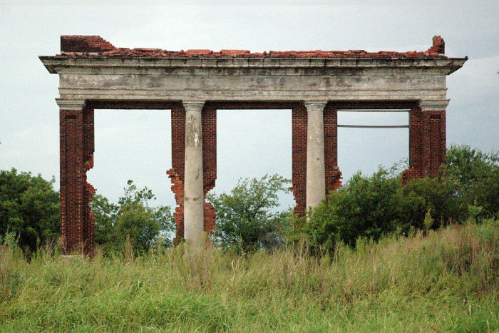 6. These ruins are all that stands left of the old Hollister School in Hollister, OK. The school was built in 1922, and closed in 1968.