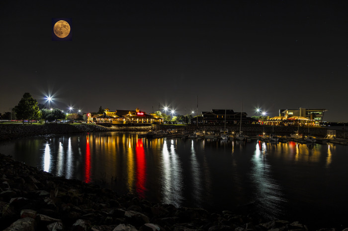 2. The moon shines bright over Lake Hefner.