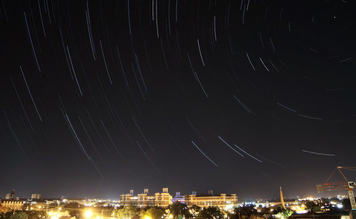 7. A star trail over the campus of OSU in Stillwater.