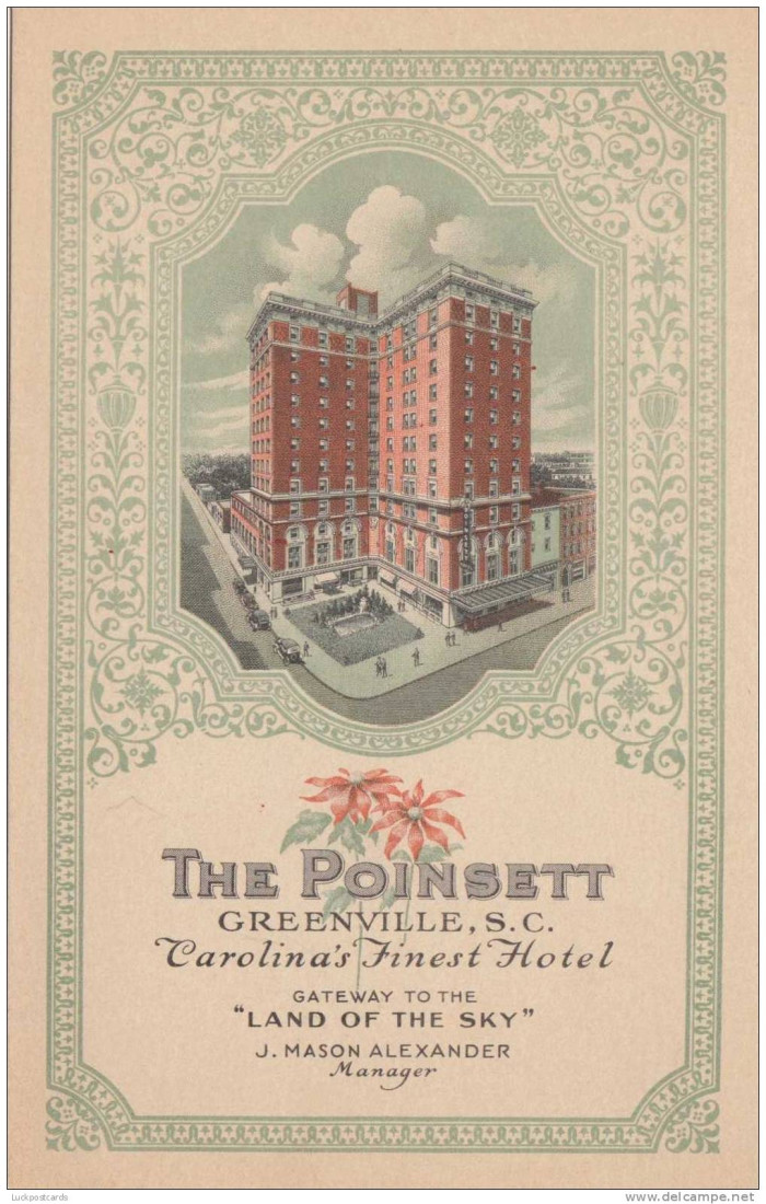A postcard advertising the luxurious Poinsett Hotel in Greenville.