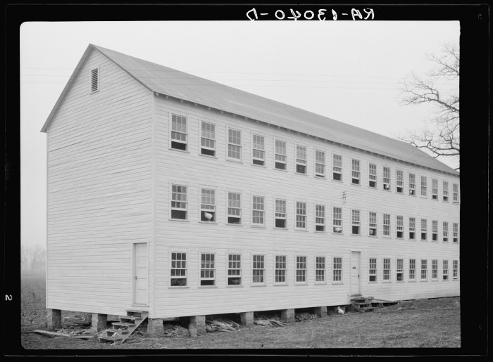 13. This was a poultry barn at the Arthurdale Project in Reedsville, 1936.