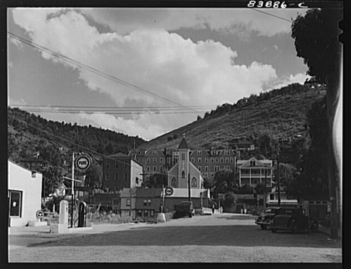 13. Here's a Catholic church, school and hospital in Richwood in 1942.