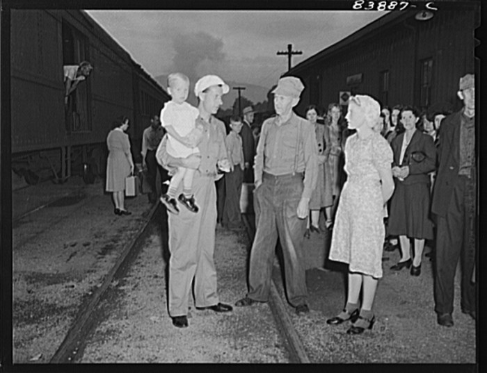 6. Here, people wait for a train in Richwood, 1942.