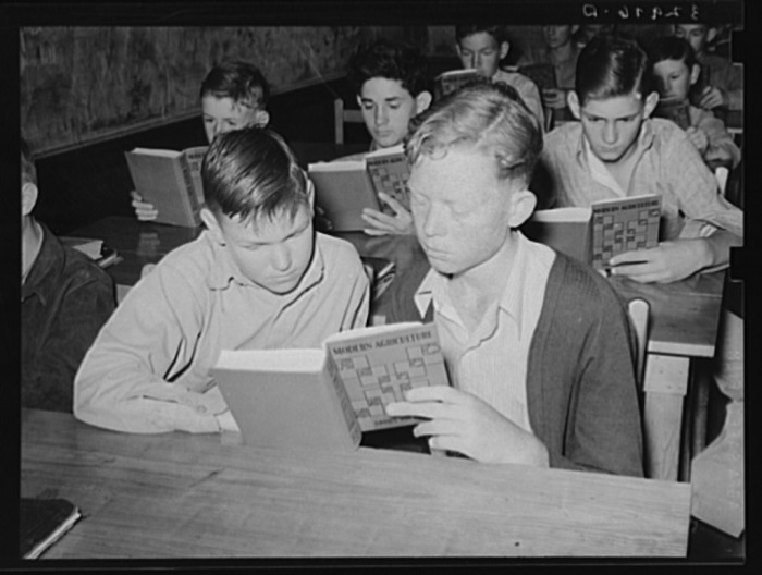 Students worked together to offer a different perspective on the topic at hand. (San Augustine, 1939)