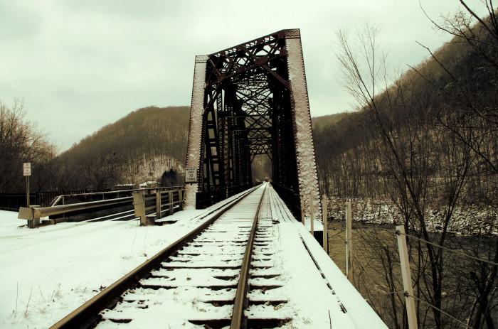9. That time the snow covered Thurmond's railroad bridge.