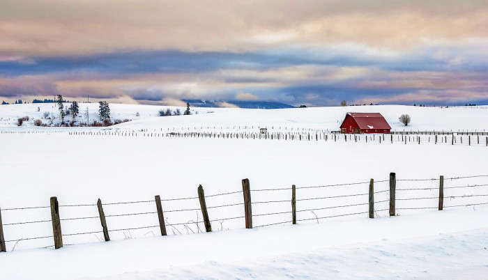 15. This vibrant red barn pops against a sea of white in McCall.