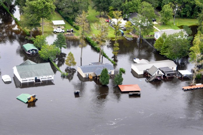 6. An aerial observation by the U.S. Department of Agriculture surveys the rising waters on the Black River near Sumter on Oct. 6, 2015.