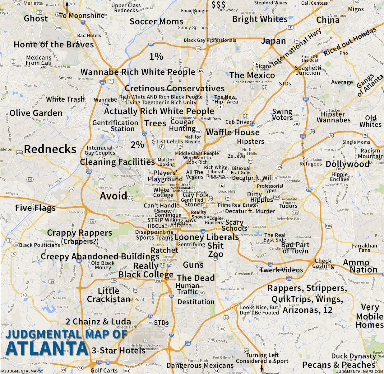 City Map Of Atlanta Georgia.6 Funny Maps Of Georgia