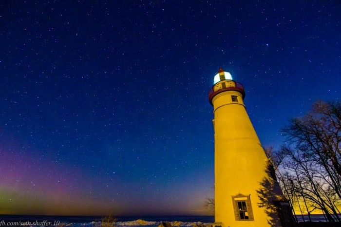 11. Marblehead Lighthouse during the St. Patricks Solar Storm 2015, featuring Aurora Borealis