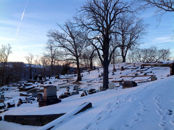 3. This is a snowy cemetery in Wheeling.