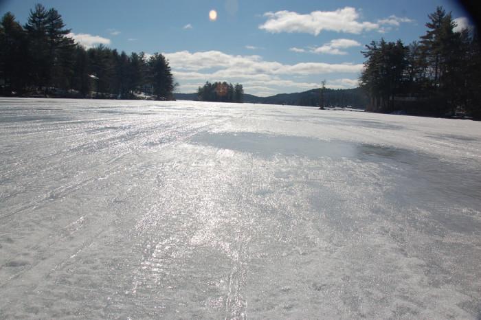 15. The ice highway on Lake Winnisquam.