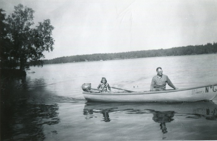 10. Father and daughter have fun on the water in 1952 near Park Falls, Wisconsin.