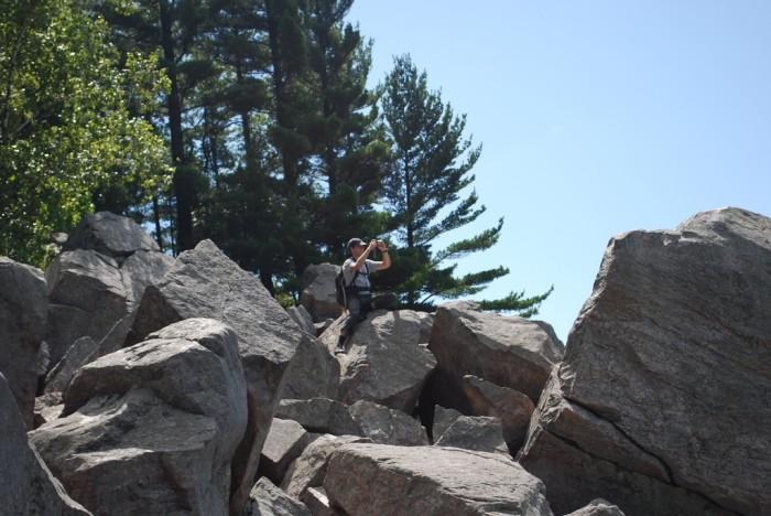 5. Around the lake are 500 foot quartzite bluffs.