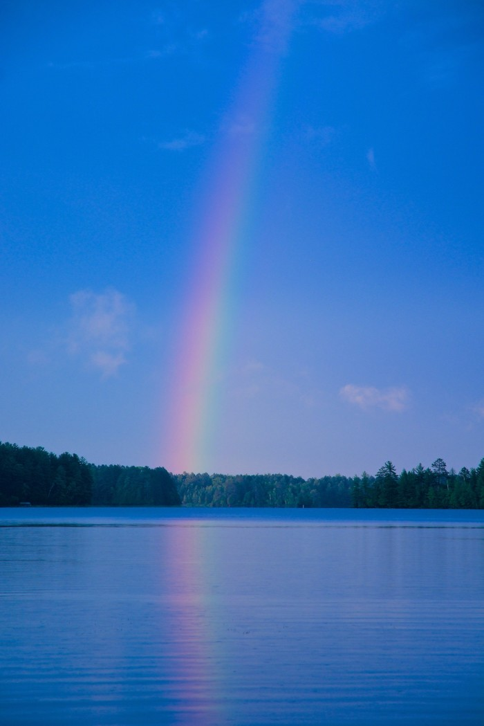 8. What an awesome shot of a rainbow over Moen Lake Chain.