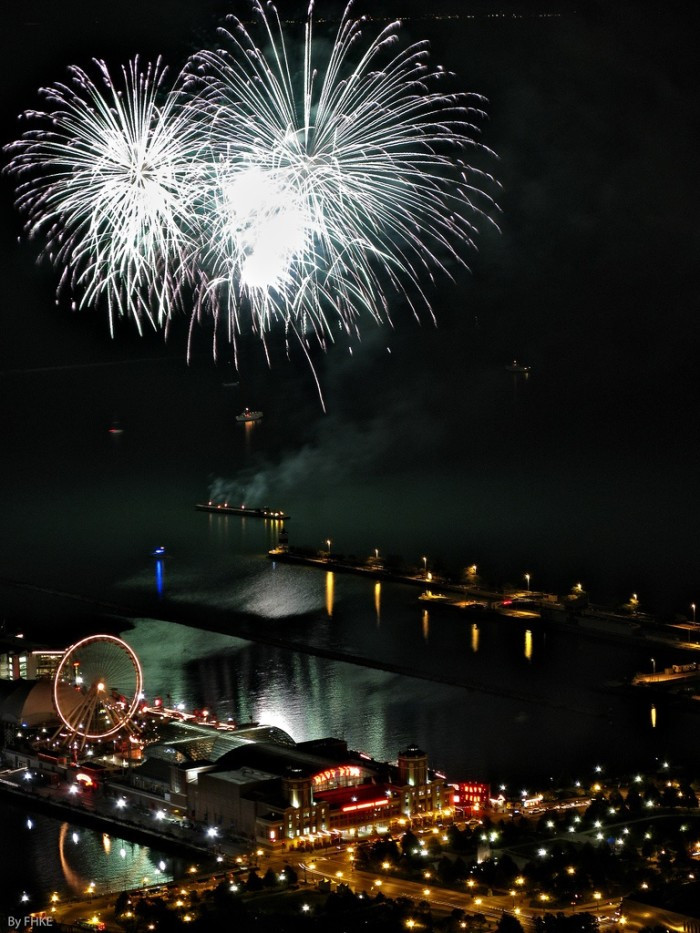 5. This is a great shot capturing a celebration over Navy Pier.