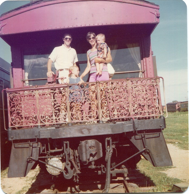 6. This family poses for a picture at the Illinois Railway Museum in 1974.