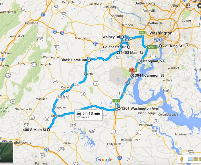 Road Map Of Northern Virginia Tidal Treasures - Road map of virginia
