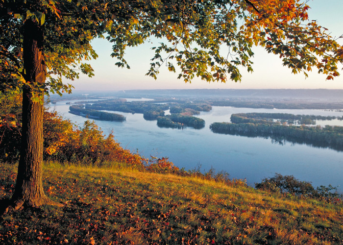 Located in McGregor, Pikes Peak State Park encompasses nearly a thousand acres of land, including a 500-foot-tall bluff overlooking the Upper Mississippi River.