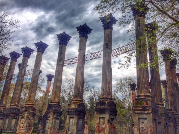 """1. Considered the """"most imposing ruins in the United States,"""" the Windsor Ruins are by far the state's most notable. The exquisite  ruins include 23, 45-foot tall columns, cast iron entrance stairs (which have been relocated), and a few pieces of cast iron balustrade."""