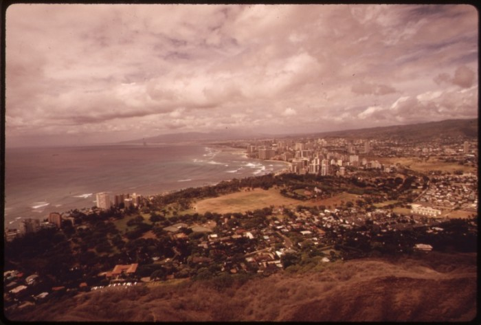 1. Honolulu as photographed from Diamond Head in the 1970s.