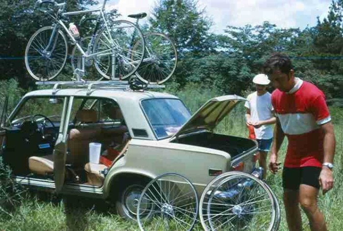 10. Bicycle group, the Starkville Freewheelers, prepare for a race, circa 1970.