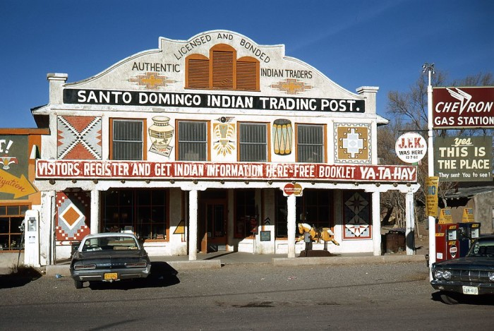 13. During the 1970s, the historical Santo Domingo Trading Post (built in 1922) was still standing. It burned down during a fire in 2001. Fortunately, the Route 66 Corridor Preservation Program funded efforts to rebuild this structure.