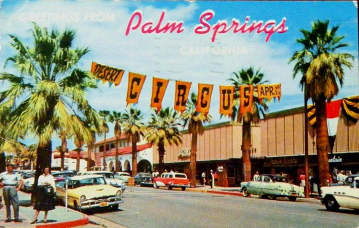 5. Palm Canyon Drive in Palm Springs captured in this postcard that was postmarked on Feb 28, 1959.