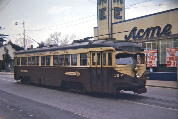 10. A streetcar in Media in 1966. You can see Acme in the background, looking quite different than it does today.