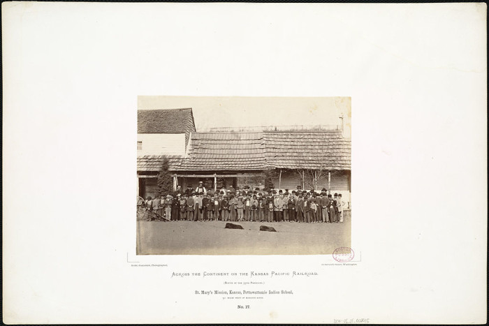 "12. ""St. Mary's Mission, Kansas, Pottawattamie Indian School, 90 miles west of Missouri River."" (1867)"