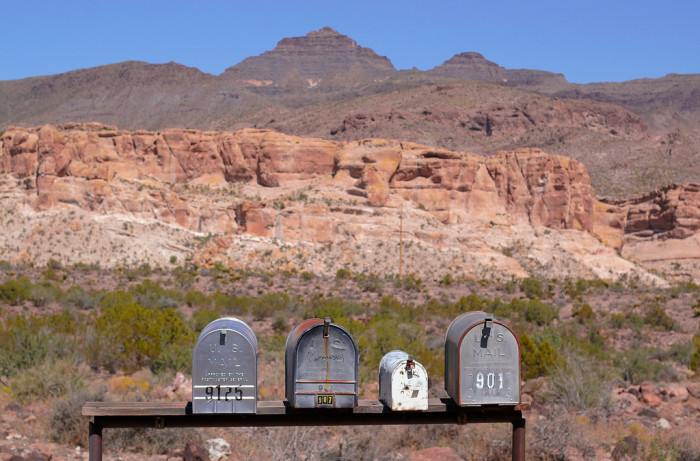 5. Getting the mail is a trip, literally. If you were lucky, the mail was delivered right to your house, but sometimes it required a several mile drive to mailboxes along the highway like these.