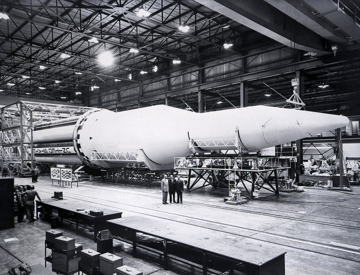 10. This amazing  photo of the first Saturn vehicle, SA-1, was taken in Huntsville, Alabama at the Marshall Space Flight Center in February 1961.
