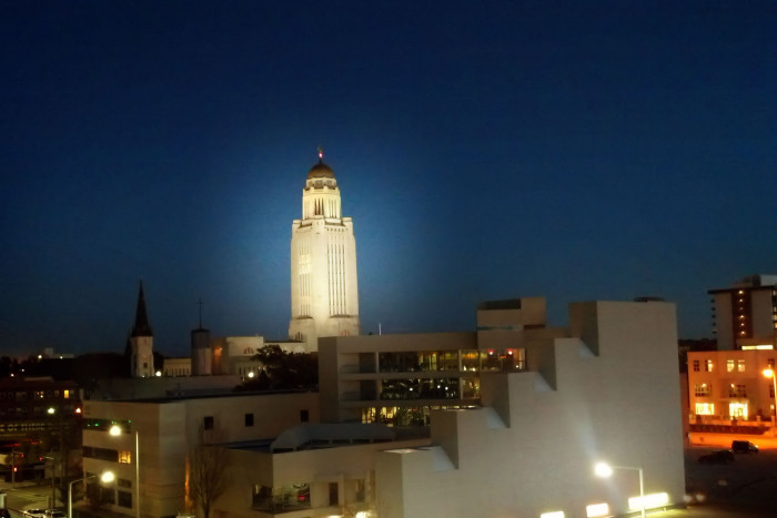 16. The capitol building glows in this picture of Lincoln's skyline.