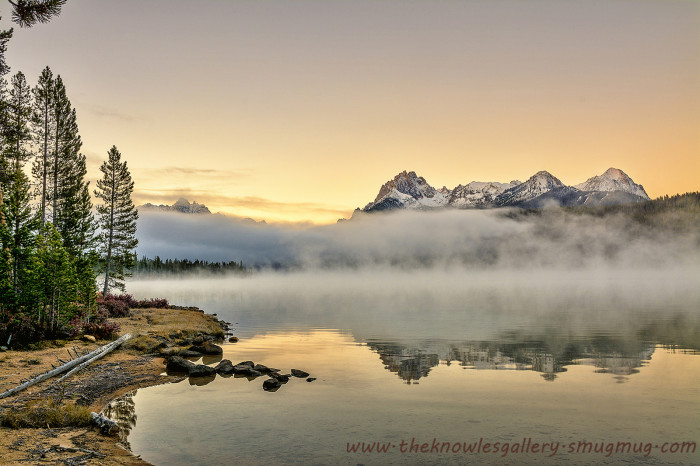2. Redfish Lake is greeted by a misty dawn