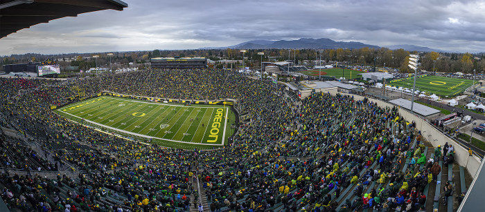 7. Even if you've never been to Eugene, you've probably seen this stadium on T.V.
