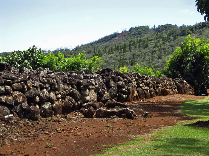 11) Likely constructed in the 1600s, the Polu'ahu Heiau was a large religious temple, approximately an acre in size and surrounded by a 5-foot high lava rock wall. The heiau was abandoned in 1819 when the traditional Hawaiian religion was abolished, and the remains are preserved today as part of the Wailua River State Park.