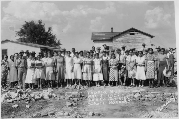 11. Taken in May of 1936, a group of student aid recipients at the Lee County Training School pose for a photo.