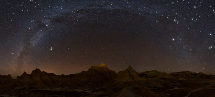 The Badlands in winter under the Milky Way - photographed at night