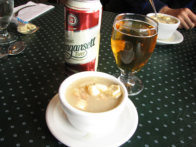 9. Rhode Island has its very own clear clam chowder, but locals always order the classic white chowder.