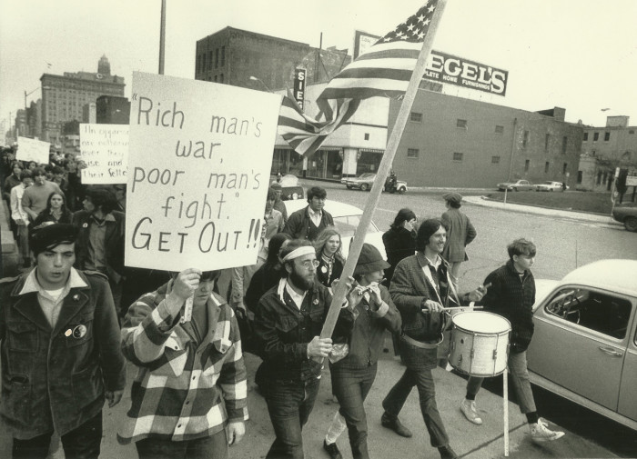 11. Even in Iowa the antiwar movement could be seen, as 700 demonstrators in Des Moines hold an anti-war rally and dump tea into the Des Moines River, symbolic of the Boston Tea Party.