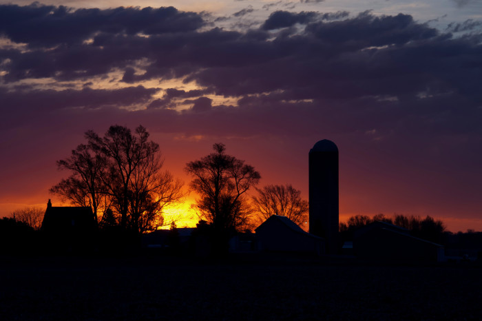 9. Or this silhouette of a rural Iowa farm against the colorful sunrise sky.