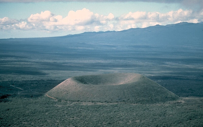 12. A cinder cone on the southeast flank of Mauna Kea volcano photographed in 1975.