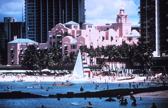 12. Waikiki Beach and the Royal Hawaiian Hotel in December 1969.