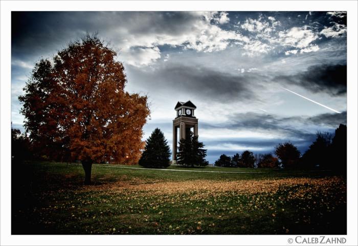 12.Missouri Western State University's haunting clock tower.