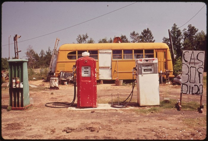5. This cut-rate gas station operates out of a bus. (Harrison County, 1972)