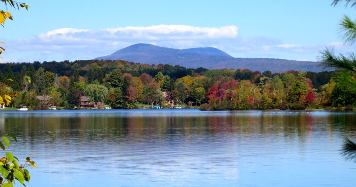 6. Saddle Ball Mountain from Pontoosuc Lake. The saddle is formed by Saddle Ball Mt. on the left side and Mt. Greylock on the right side of this photo.