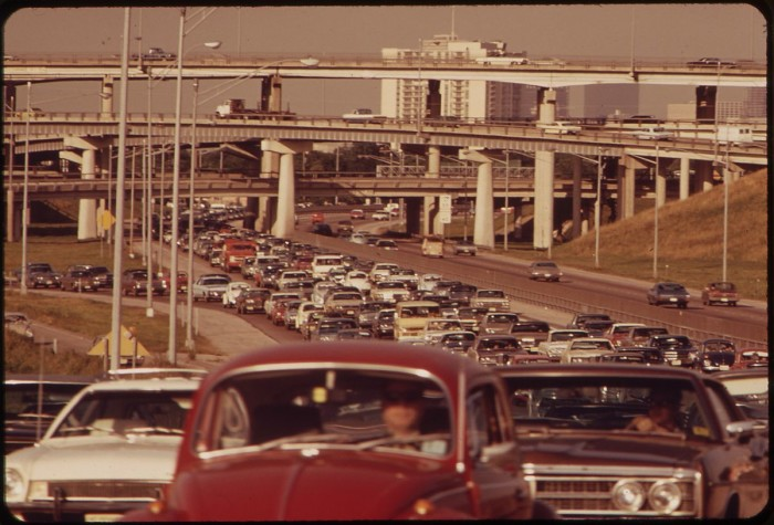7. These cars aren't typical sights of today's traffic jams, are they? (Houston, 1972)