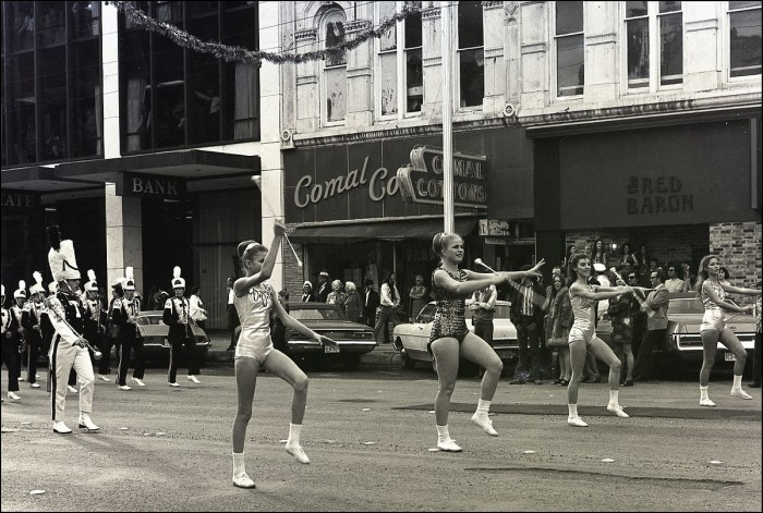 10. A high school band marches through downtown. (Austin, 1973)